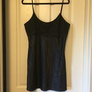 Solid black silky and shiny nighty w/a lace top